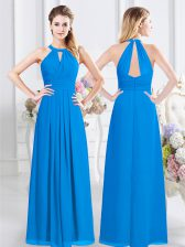 Luxury Baby Blue Damas Dress Prom with Ruching Halter Top Sleeveless Zipper
