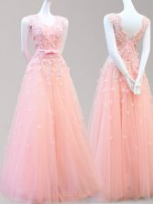 High End Baby Pink Sleeveless Floor Length Appliques and Bowknot Lace Up Dress for Prom