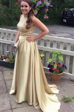 Elegant Sleeveless Dress for Prom With Train Sweep Train Beading Champagne Satin