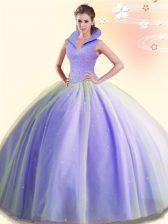 Backless Lavender Sleeveless Beading Floor Length Quinceanera Dress