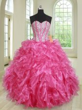 Amazing Hot Pink Lace Up 15th Birthday Dress Beading and Ruffles Sleeveless Floor Length