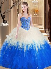 Fashion Floor Length Ball Gowns Sleeveless Blue And White Vestidos de Quinceanera Lace Up