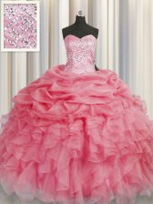 Coral Red Sleeveless Floor Length Beading and Ruffles Lace Up Quinceanera Gown