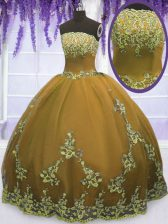 New Style Brown Tulle Zipper Strapless Sleeveless Floor Length Sweet 16 Quinceanera Dress Appliques
