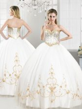 Modern White Sleeveless Floor Length Beading and Appliques Lace Up Quinceanera Gowns