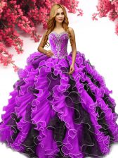 Flare Multi-color Sleeveless Floor Length Beading and Ruffles Lace Up 15 Quinceanera Dress