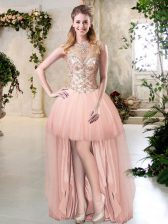 Amazing Scoop High Low Zipper Prom Gown Peach for Prom with Beading