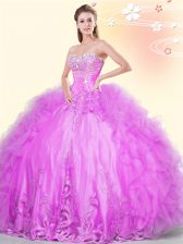 Latest Sweetheart Sleeveless Lace Up Vestidos de Quinceanera Lilac Tulle