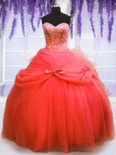 Stylish Coral Red Ball Gowns Tulle Sweetheart Sleeveless Beading and Bowknot Floor Length Lace Up Quinceanera Gown