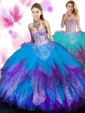 Admirable Multi-color Lace Up 15th Birthday Dress Beading and Ruffled Layers Sleeveless Floor Length