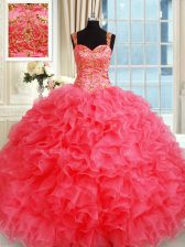 Straps Coral Red Sleeveless Beading and Ruffles Floor Length Quince Ball Gowns