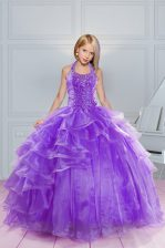 Lavender Little Girl Pageant Dress Party and Wedding Party with Beading and Ruffles Halter Top Sleeveless Lace Up