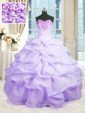 Sleeveless Floor Length Beading and Ruffles Lace Up Sweet 16 Dress with Lavender