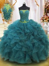 Teal Lace Up Quinceanera Gowns Beading and Ruffles Sleeveless Floor Length