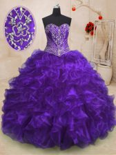 Purple Ball Gowns Beading and Ruffles Quinceanera Gowns Lace Up Organza Sleeveless With Train