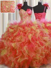 One Shoulder Handcrafted Flower Beading and Ruffles and Hand Made Flower Sweet 16 Dress Multi-color Lace Up Sleeveless Floor Length