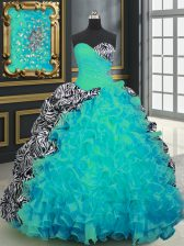 Luxurious Aqua Blue Ball Gowns Beading and Ruffles and Pattern Quince Ball Gowns Lace Up Organza and Printed Sleeveless With Train