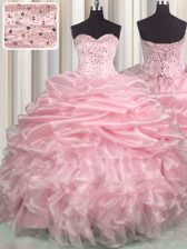 Great Pick Ups Brush Train Ball Gowns Sweet 16 Quinceanera Dress Baby Pink Sweetheart Organza Sleeveless With Train Lace Up