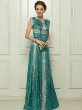 High Quality Teal Tulle Zipper Scoop Sleeveless Floor Length Dress for Prom Beading and Sequins