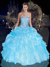Blue Sleeveless Floor Length Beading and Ruffles Lace Up Sweet 16 Quinceanera Dress