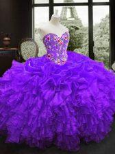Sweetheart Sleeveless 15th Birthday Dress Floor Length Embroidery and Ruffles Purple Organza