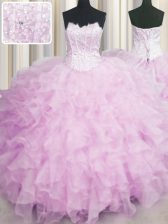 Extravagant Visible Boning Pink Scalloped Lace Up Beading and Ruffles Quinceanera Gowns Sleeveless