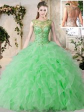 Dramatic Scoop Green Sleeveless Organza Lace Up Sweet 16 Quinceanera Dress for Military Ball and Sweet 16 and Quinceanera