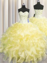 Simple Visible Boning Zipper Up Sleeveless Beading and Ruffles Zipper Quinceanera Gown