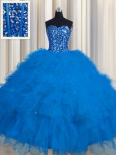 Beautiful Visible Boning Floor Length Blue Quince Ball Gowns Sweetheart Sleeveless Lace Up
