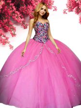 Exquisite Sleeveless Floor Length Beading Lace Up Quinceanera Dresses with Hot Pink