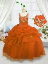 Affordable Pick Ups Floor Length Ball Gowns Sleeveless Orange Little Girls Pageant Dress Lace Up