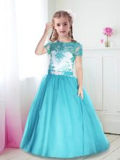 Lovely Scoop Short Sleeves Flower Girl Dress Floor Length Lace and Belt Turquoise Tulle