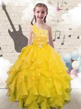 Custom Made One Shoulder Yellow Sleeveless Organza Lace Up Kids Pageant Dress for Party and Wedding Party