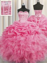 Decent Visible Boning Rose Pink Ball Gowns Sweetheart Sleeveless Organza Floor Length Lace Up Beading and Ruffles and Pick Ups 15 Quinceanera Dress
