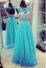 Scoop Turquoise Column/Sheath Beading Prom Dresses Zipper Chiffon Sleeveless Floor Length