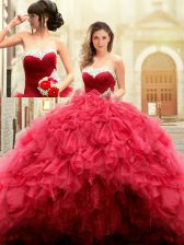 Attractive Floor Length Ball Gowns Sleeveless Red Sweet 16 Quinceanera Dress Lace Up