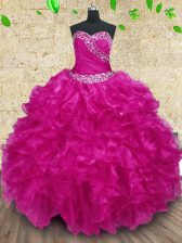 Dazzling Organza Sweetheart Sleeveless Lace Up Beading and Ruffles and Ruching Quinceanera Dress in Fuchsia