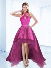 Designer Halter Top High Low Ball Gowns Sleeveless Fuchsia Prom Evening Gown Zipper