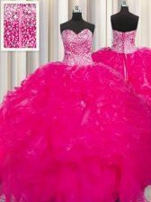 Fashion Visible Boning Beaded Bodice Beading and Ruffles Sweet 16 Dress Hot Pink Lace Up Sleeveless Floor Length