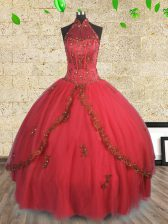 Halter Top Red Tulle Lace Up Sweet 16 Quinceanera Dress Sleeveless Floor Length Beading