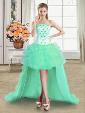 Fashion Turquoise Sleeveless Tulle Lace Up Prom Gown for Prom and Party