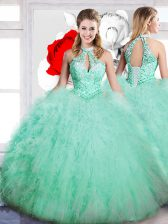Artistic Floor Length Apple Green Quinceanera Gowns High-neck Sleeveless Lace Up