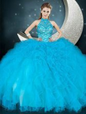 Customized Halter Top Sleeveless 15 Quinceanera Dress Floor Length Beading and Ruffles Baby Blue Tulle