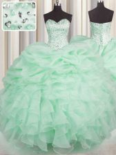 Fitting Sleeveless Beading and Ruffles Lace Up Sweet 16 Quinceanera Dress