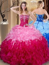 Fashionable Multi-color Ball Gowns Embroidery and Ruffles Sweet 16 Quinceanera Dress Lace Up Organza Sleeveless Floor Length