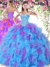 Graceful Sweetheart Sleeveless Organza 15 Quinceanera Dress Beading and Ruffles Lace Up