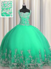Fine Turquoise Organza Lace Up Ball Gown Prom Dress Sleeveless Floor Length Beading and Appliques