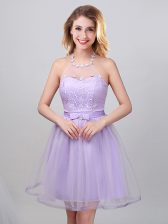 Amazing Lavender A-line Halter Top Sleeveless Tulle Mini Length Lace Up Lace and Appliques and Belt Court Dresses for Sweet 16