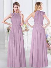 Lavender Sleeveless Ruching Floor Length Damas Dress