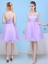 Simple Lavender Court Dresses for Sweet 16 Prom and Party with Bowknot Sweetheart Sleeveless Lace Up